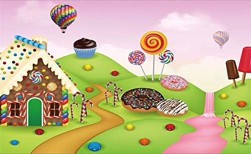 Leowefowa Vinyl Cartoon Gingerbread House Backdrop 5X3FT Lollipops Hot Air Balloon Candy Cane Ice Cream Donuts Cupcakes Grassland Fairytale Happy Birthday Photography Background Photo Studio Props - Gingerbread Birthday Party