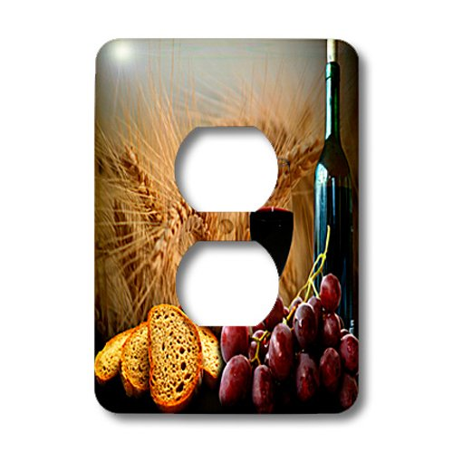 - 3dRose lsp_14294_6 Wine Bread Grapes 2 Plug Outlet Cover