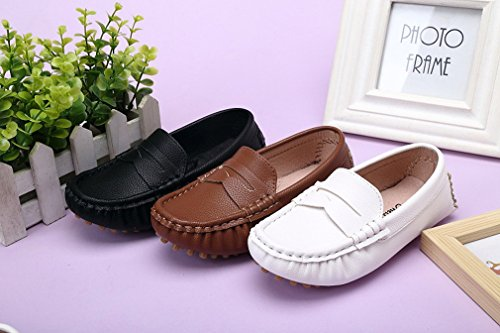 KVbaby Unisex-Kinder Weiches Leder Halbschuhe Comfort Mokassin Jungen Mädchen Rutschfest Loafers Flache Bootsschuhe Braun