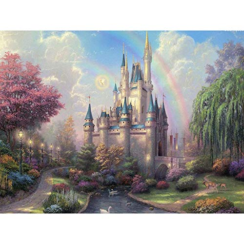 Toopia Paint by Numbers Canvas for Adults Kids Beginner Kits - Cinderellas Castle by Thomas DIY Painting by Number with Brushes and Acrylic Canvas Art Home Decor Gift 16 x 20 Inch ()
