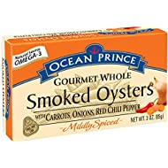 Ocean Prince Gourmet Whole Oysters with Carrots, Onions, Smoked, Mildly Spiced with Red Chili Pepper, 3 Ounce (Pack of 18)