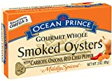 Crown Prince Ocean Gourmet Whole Oysters with Carrots, Onions, Smoked, Mildly Spiced with Red Chili Pepper, 3 Ounce (Pack of 18)