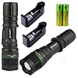 OVERMAL 2 Sets 5000Lumen Tactical T6 LED Flashlight Torch Zoomable 18650 Battery+Charger