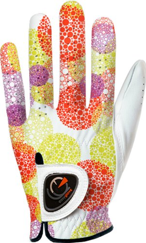 (easyglove SPRING_BUBBLE-ORANGE-W Women's Golf Glove (White), Large, Worn on Left Hand)
