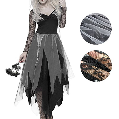 Zombie Bride Costume Halloween Living Dead Dress Corpse Vampire Costume For Women Girls (XL)
