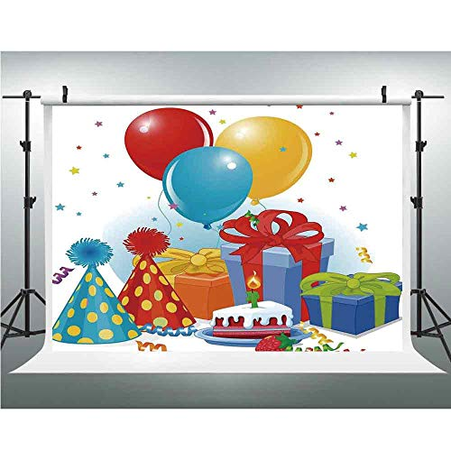 Birthday Decorations,Background Vinyl Photo Backdrops Studio Props,10x20ft,Slice of Strawberry Pie Party Set Up with Hats Balloons Presents ()