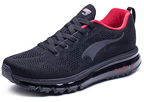 ONEMIX Womens Air Cushion Outdoor Sport Running Shoes Lightweight Casual Sneakers B-black/Red