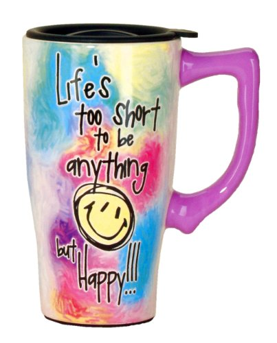 Spoontiques Life's Too Short Travel Mug, Multi Colored ()