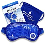Origin Cure Hot/Cold Full Coverage Therapeutic Gel Beads Eye Mask - Reusable Adjustable Ultra Soft Pain Relief Therapy Treatments for Headache, Migraines, Puffy Eyes, Allergies, Sinuses, Dry Eyes
