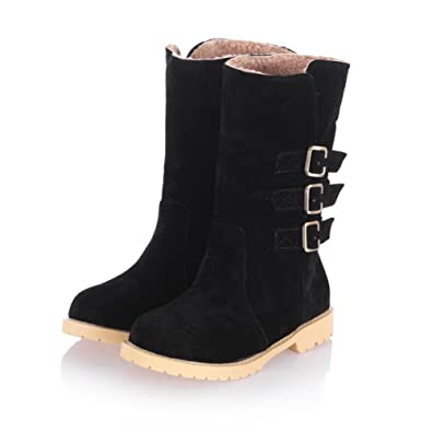 Women's Low-Heels Solid Round Closed Toe Frosted Buckle Boots