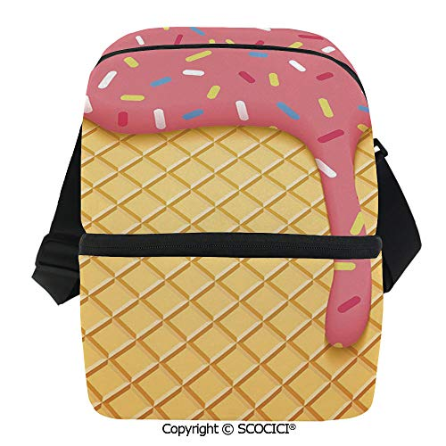 SCOCICI Thermal Insulation Bag Waffle Pattern with Cherry Flavor on Yummy Summer Dessert Cute Image Decorative Lunch Bag Organizer for Women Men Girls Work School Office Outdoor]()