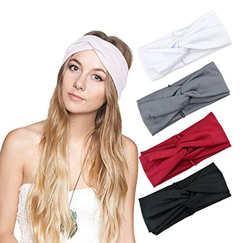Hair Accessory Wrap (DRESHOW 1950's Vintage Modern Style Elastic Women Turban Headbands Twisted Cute Hair Band Accessories (4 Pack Criss Cross))