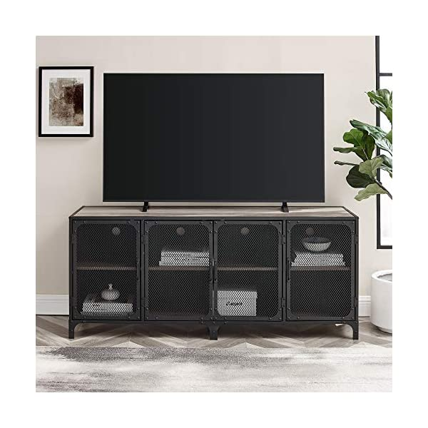 Walker Edison Malcomb Urban Industrial 4 Door Metal Mesh TV Console for TVs up to 65 Inches, 60 Inch, Grey