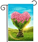 ShineSnow Floral Flower Tree Bird Spring Forest Garden Yard Flag 12''x 18'' Double Sided, Polyester Colorful Pink Green Magic Meadow Welcome House Flag Banners for Patio Lawn Outdoor Home Decor