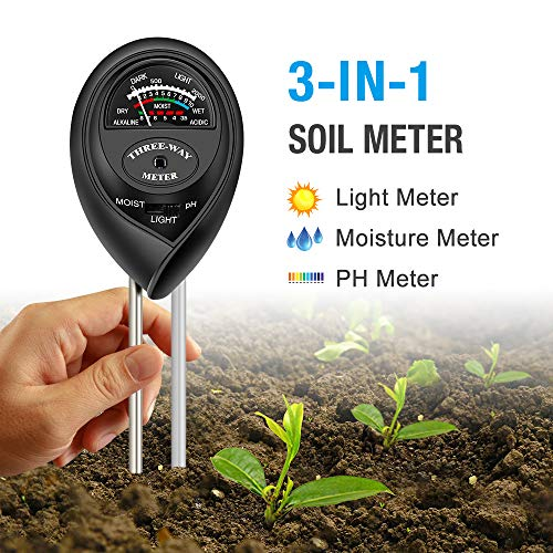 (Atree Soil pH Meter, 3-in-1 Soil Tester Kits with Moisture,Light and PH Test for Garden, Farm, Lawn, Indoor & Outdoor (No Battery Needed))
