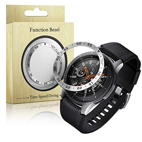 (Tensea Bezel Ring Compatible Samsung Galaxy Watch 46mm and Galaxy Gear S3 Frontier and Classic Bezel Ring Adhesive Cover Anti Scratch Stainless Steel Protector (Silver))