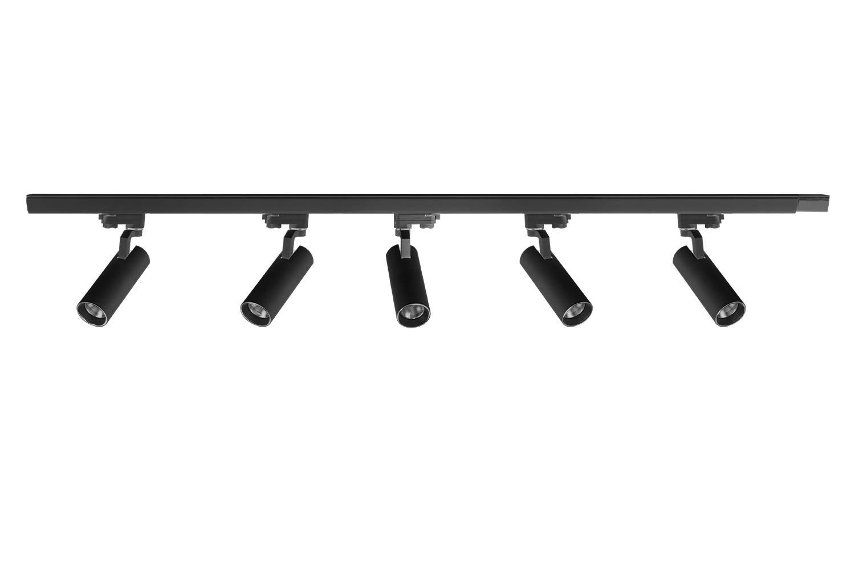 UPO LED Track Lighting, 5-LED 1500 Lumens 3000K Track Lighting Kit, Adjustable Track Head Easy Installation, LED Bulbs Included, Black