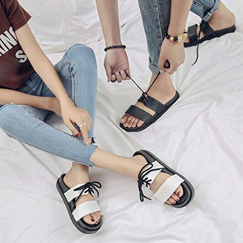 BUIMIN Chancletas Zapatillas Para Adulto-Unisex Atractiva de Pareja Correas Antideslizantes Transpirable Para Playa Casual Moda Verano Color Negro/Blanco. (40-41, Blanco)