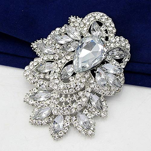 2017 Elegant glass+rhinestone large brooch pins flower jewelry for wedding pins and brooches for women danbihuabi brooches china-in Brooches