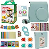 9 in 1 Fujifilm Instax Mini 9 8 Instant Camera Ice Blue Accessories Bundle - Fujifilm INSTAX Mini Instant Film Twin Pack 20 Shoots - Blue Case, Selfie Lens, Colored Filters, Frames, Stickers and More