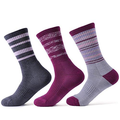 Super Fine Merino Wool Sock - SOLAX Women's Merino Wool Socks Hiking 3 Pairs ASST3