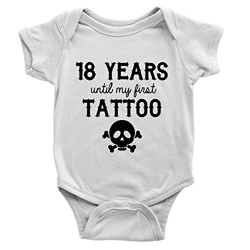 Kickass Tees 18 Years Until My First Tattoo Babygrow Cool Funny Dad Present New Baby Gift