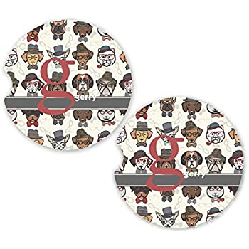 6e12577cb5b Hipster Dogs Sandstone Car Coasters - Set of 2 (Personalized)