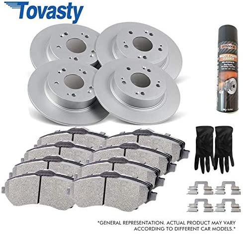 E-Coated OE Series Rotors /& Ceramic Pads /& Hardware Clips /& Brake Cleaner /& Gloves for 09 2009 10 2010 Subaru Forester BK830130421 Tovasty Front and Rear Brake Kit