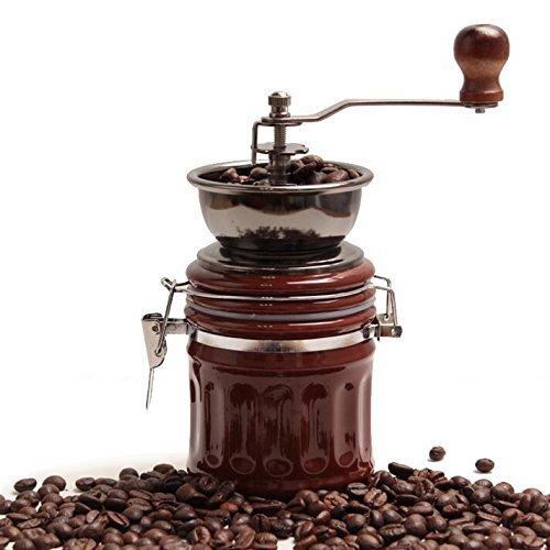 DaHanBL Mini-Manuelle Kaffeem/ühle aus Keramik mit Holzst/änder Kaffeebohnen Mahlwerk