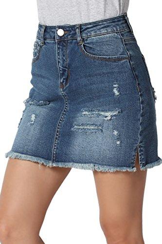 TheMogan Junior's Raw Slit Hem High Waist Distressed Denim Mini Skirt Dark L