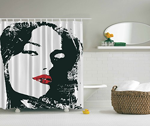 Red Lady Silhouette (Adult Love Shower Curtain Art Decor by Ambesonne, Funny Seductive Women Cool Attractive Sexy Beautiful Silhouette with Red Lips Fabric for Bachelorette Party Backdrop, 69x70 Inches Long Black White)