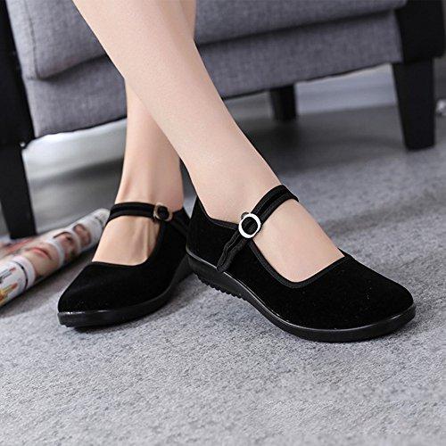 Rouge plat Mary En Femme Confort Chaussures Noir Jane Noir Compensé Bozevon Plat Classique Velours Walk talon g7Tqa