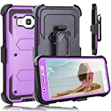 J7 Case, Galaxy J7 J700 2015 Case, Heng Tech (TM) Heavy Duty Shockproof Full Body Hybrid Case Cover with Belt Clip Holster & Kickstand for Samsung Galaxy J7 (2015) (Purple)