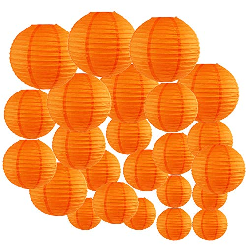 (Just Artifacts Decorative Round Chinese Paper Lanterns 24pcs Assorted Sizes (Color:)