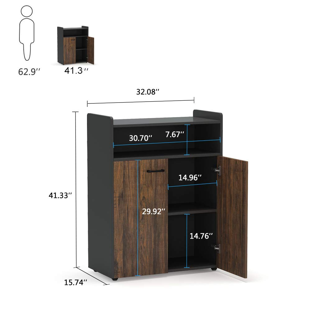 Tribesigns Office Storage Cabinet, Industrial Large Tall File Cabinet Printer Stand with Storage Shelves and Doors for Home Office by Tribesigns (Image #7)