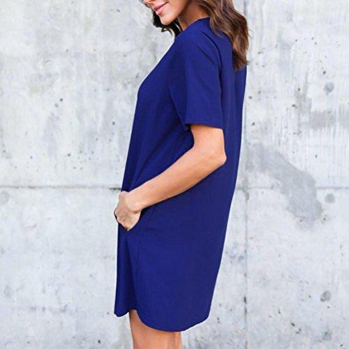 ZEZKT☼Mini Hemdkleid Lange Ärmel Casual Blusenkleid Minikleid Freizeit Lose T-Shirt Kleider Einfarbig Gefaltet Knielangen Kleid Elegant Baumwolle Frauen Rock Schulter Minikleid Blau