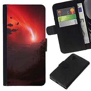 """A-type (cielo Rojo"""") Colorida Impresión Funda Cuero Monedero Caja Bolsa Cubierta Caja Piel Card Slots Para LG Nexus 5 D820 D821"""