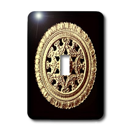3dRose LLC lsp_31794_1 Pale Gold Ornate Vintage Architectural Element On Black Background Single Toggle ()