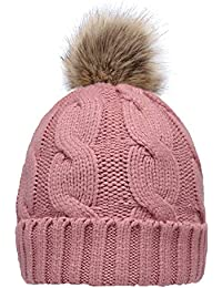 36643084fa7f83 Women's Winter Ribbed Knit Faux Fur Pompoms Chunky Lined Beanie Hats