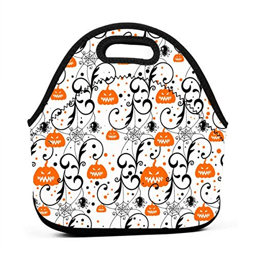 Neoprene Portable Lunch Bag Carry Case Tote with Zipper Box Cooler Container Bags Picnic Outdoor Travel Fashionable Handbag Pouch for Women Men Kids Girls(Happy Halloween Party Pumpkin)