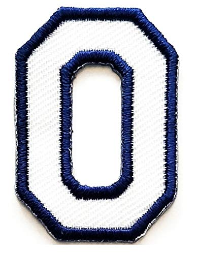 Letter School 0-9 Number Arabic Patch Blue Number Zero No.0 Iron Sew On Embroidered Logo Symbol Coach Sports Team Fan Player Lover Basketball Football for Costume Badge Cloth -