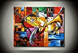 Sanbay Art 100% Hand Painted Oil Paintings on Canvas Hot Sale Musical Instructment Wood Framed Inside 1-piece Set Artwork for Living Room Kitchen and Home Wall Decoration