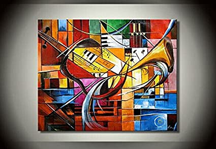 Amazon.com: Ode-Rin Art 100% Hand Painted on Canvas Abstract Music ...