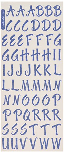EK Success Glitter Classic Alphabet and Number Stickers 2 Sheets/Package, Blue (Stickers Alphabet Classic)