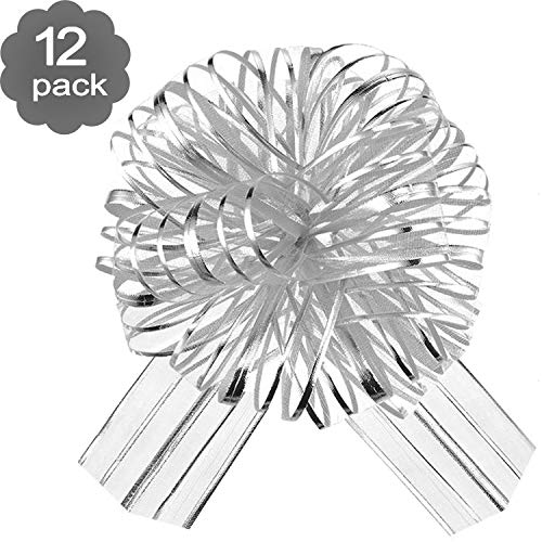 12 Pieces Pull Bow Large Organza Pull Bow Gift Wrapping Pull Bow with Ribbon for Wedding Gift Baskets, 6 Inches Diameter (Silver)