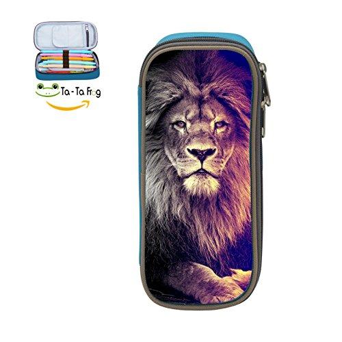Cute Large Capacity Cool Canvas Pencil Case Pen Bag lion Student blue