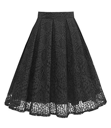 Girstunm Women High Waist Pleated A-Line Knee Length Lace Pockets Skirt Black XL (Lace Skirt Plus Size)