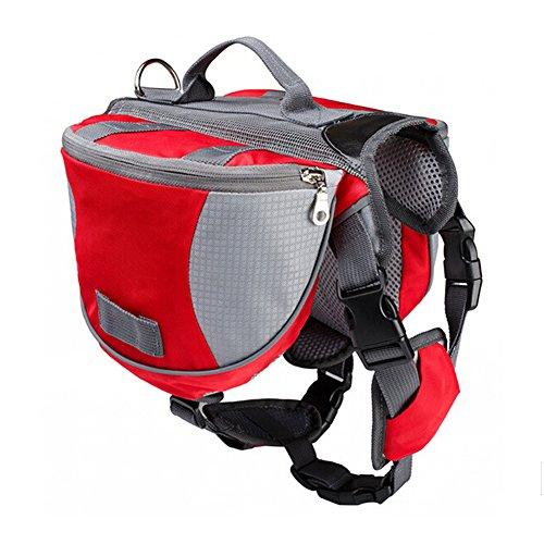 Haustier Rucksack - SODIAL(R) Haustier Rucksack Hund Satteltasche mittel und gross Hunde Harness Tasche Ideal fuer Outdoor Wandern Camping Trainings-L rot