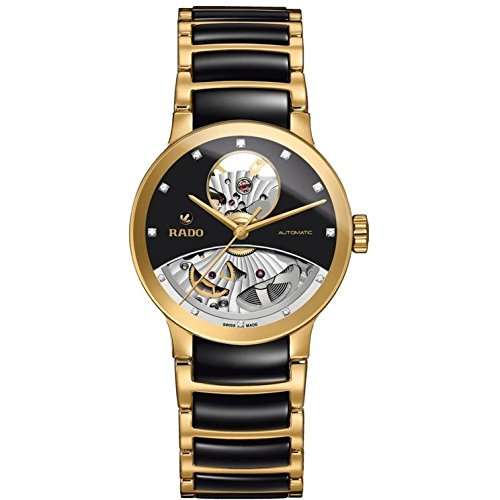 Rado Men's 33mm Multicolor Ceramic Band Gold Plated Case S. Sapphire Automatic Black Dial Watch R30246712
