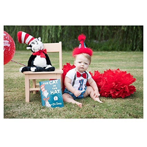 cc9226ae Amazon.com: Dr Seuss Cat in the Hat Boy First Birthday Cake Smash Outfit  w/Onesie and optional Party Hat: Handmade